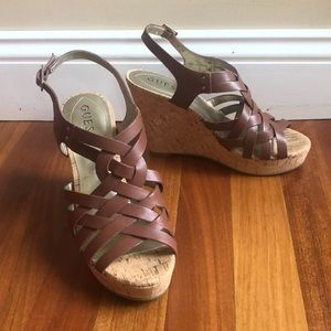 GUESS Brown Leather Wedges WORN ONCE